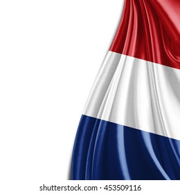 Netherlands  flag of silk and white background-3D illustration