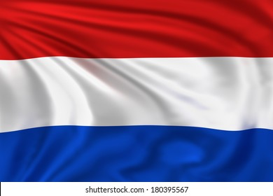 Netherlands flag waving in the wind. High quality illustration.