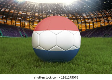 Netherlands football team ball on big stadium background. Netherlands Team competition concept. Netherlands flag on ball team tournament in Netherlands. 3d rendering. Sport competition on green grass