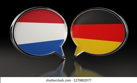 Netherlands and Germany flags with Speech Bubbles. 3D illustration