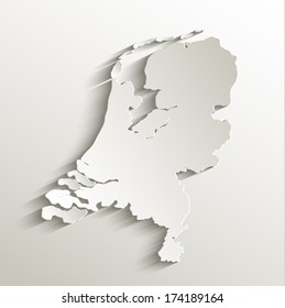 Netherlands map card paper 3D natural raster blank