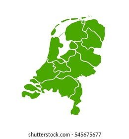The Netherlands Map on a White Background