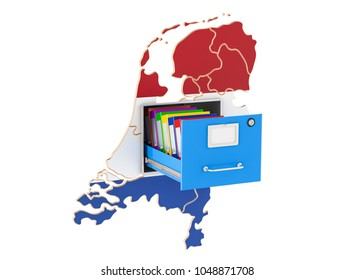 The Netherlands national database concept, 3D rendering isolated on white background