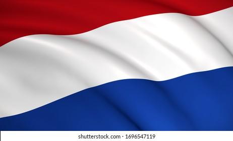 Netherlands National Flag (Dutch flag) - waving background illustration. Highly detailed realistic 3D rendering