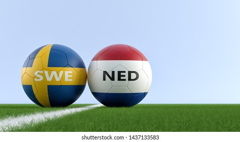 Netherlands vs. Sweden Soccer  - Soccer balls in Netherlands and Swedens national colors on a soccer field. Copy space on the right side - 3D Rendering
