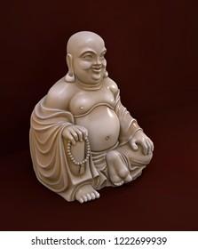Netsuke Buddha miniature on dark red background. 3 d illustration. Side view.