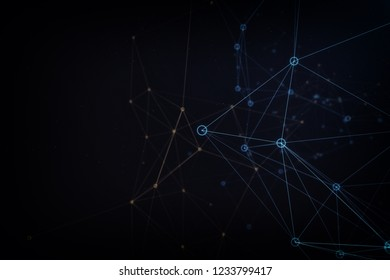 Network background made of colorful lines and dots. 3d illustration