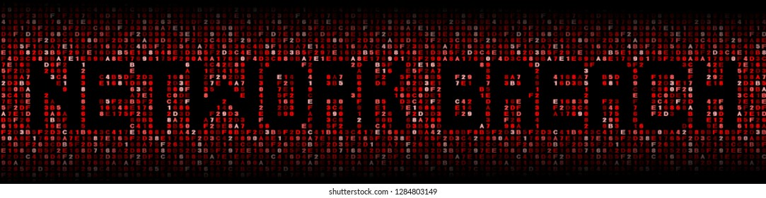 Network Breach text on abstract hex background illustration