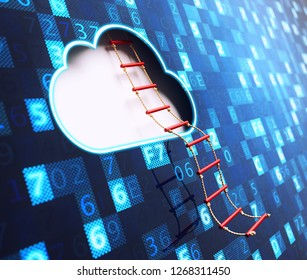 Network cloud computing and big data access technology concept, rope ladder from cloud shape hole on a blue digital data background, 3d illustration