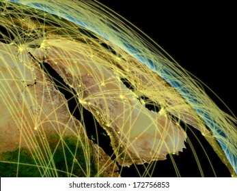 Network concept with Arabian peninsula viewed from space. Highly detailed planet surface with city lights. Elements of this image furnished by NASA.