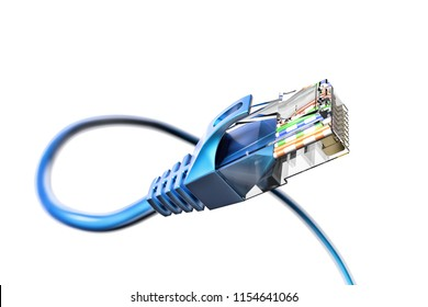 Network connection, internet communication and computer technology concept, closeup view of curved ethernet cable plug connector isolated on white background, 3d illustration