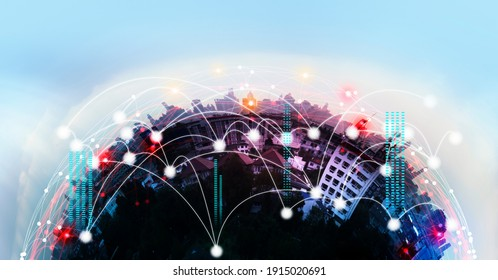 Network Connection technology and Smart city concept.5G network and aesthetic Intricate wave line design banner template background