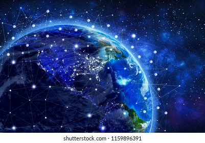Network and data exchange over planet earth in space .3D rendering .Elements of this image furnished by NASA