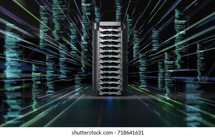 Network Data Server Abstract Background. 3D illustration