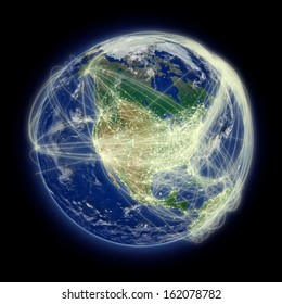 Network of flight paths over North America. Highly detailed planet surface. Elements of this image furnished by NASA.
