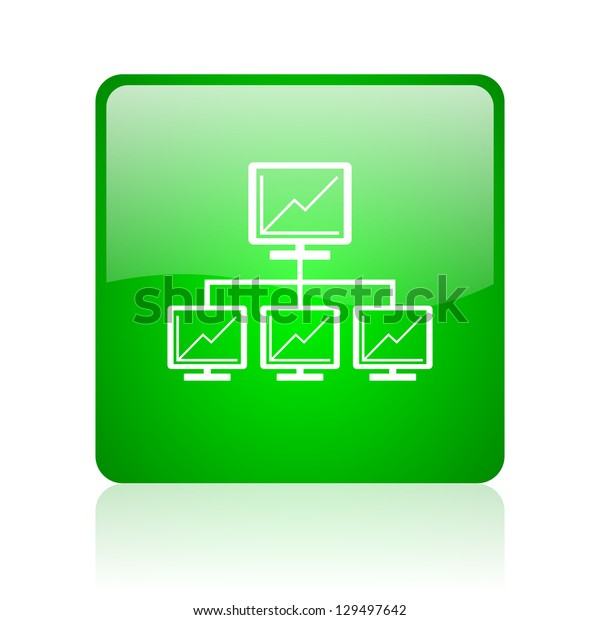network green square web icon on white background