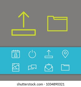 Network icons set with upload, turn off and letter elements. Set of network icons and dossier concept. Editable  elements for logo app UI design.