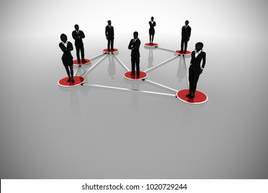 Network of interconnected Business executives as 3d rendering. A business network of successful executive managers in silhouettes standing on interconnected discs.