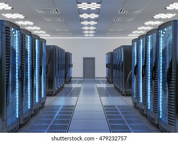 Network and internet communication technology concept, data center interior, server racks with telecommunication equipment in server room, 3d illustration
