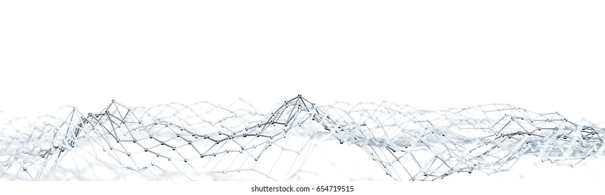 Network mesh structure as abstract 3D panorama background (3D Rendering)