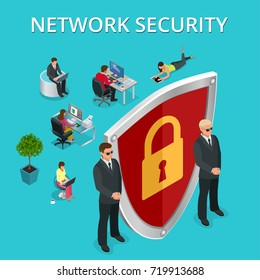 Network security computer security, personal access via finger, user authorization, login, protection technology isometric illustration