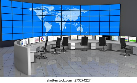 Network / Security Operations Center containing computers desks and a large screen containing the world map.