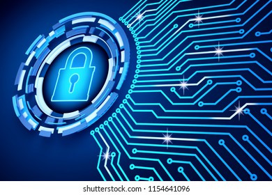Network security system, protection of access to computer data and electronic technology concept, printed circuit board (pcb) around the lock icon on a blue background, 3d illustration