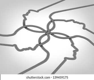 Network team business concept with a group of merging roads and highways shaped as a human head converging and coming together connected as a community partnership tat are crossing paths.