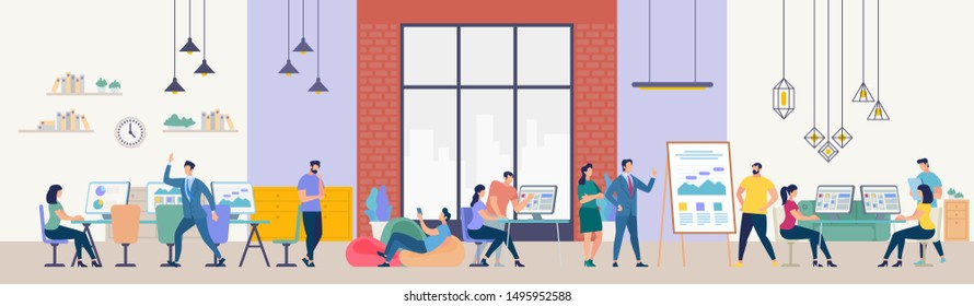 Network and Teamwork Concept. Communication systems, Digital Technologies and Crowdsourcing. Networking People Set. Office Flipchat and Messaging. People Work in Office. Flat Illustration.
