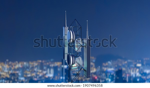 Network wireless systems and antenna on the telecommunication tower. 3D rendering