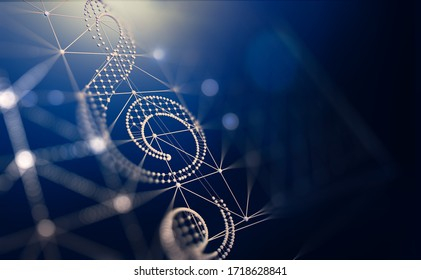 Networked music and cloud music sharing.3d illustration.Electronic music concept abstract background. Clef key