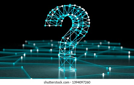 Networking and communication questions.3d illustration.Question mark and concept of science and technology. Questions and answers on the Internet.