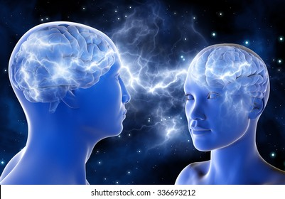 Neural connections in the brains of men and women. Love at first sight. Relationship between people. 3D illustration. A high resolution.