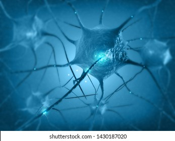 Neural network in the brain. nervous system , Neurons. 3d render