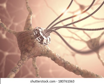 Neural network with one artificial connection in nanotechnology concept.