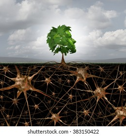 Neuron brain connection concept as a tree in a human head form with roots shaped as active growing neurons with connections to the nervous system anatomy.