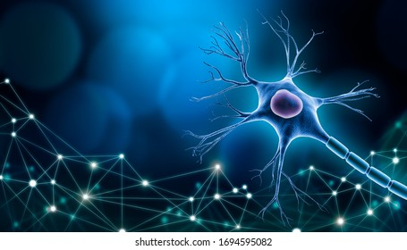 Neuron cell body with nucleus design, 3D rendering illustration with copy space and blue background. with plexus lines network. Neuroscience, neurology, biology, psychology or microbiology concepts.