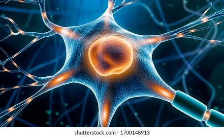 Neuron cell close-up 3D rendering illustration with nervous impulses along dendrites, axon, soma and nucleus. Neuronal and brain activity,  neuroscience, neurology, anatomy, medicine artistic concept.