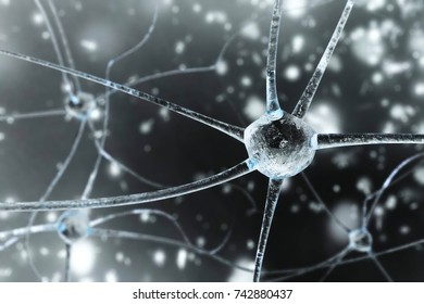neuron close-up, nerve node, neural network close-up, banner, 3d rendering