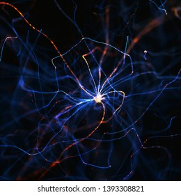 Neuronium with electric pulses. 3d illustration concept image.