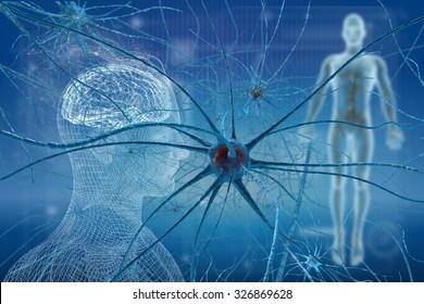 Neurons cell brain on science background