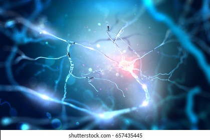 Neurons connecting by using electrochemical transmissions. 3d illustration.