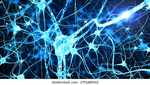 Neurons and neural connections 3D render. Neuronal activity in the brain, neurogenesis, neurotransmitters, electricity in the brain,synapses, dendrid, neurotransmitters, myelin