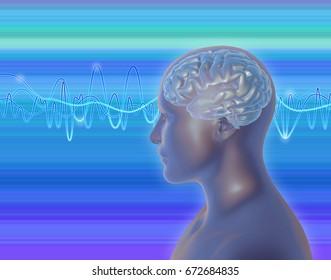 Neuroscience ,brain power idea. 3D Illustration with brain waves and human profile.