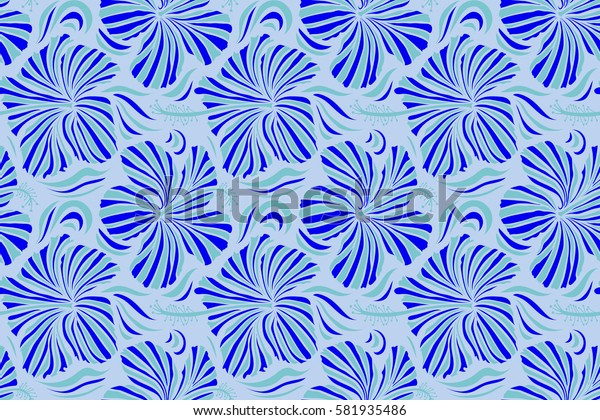 Neutral and blue hibiscus flowers seamless pattern.