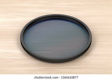 Neutral density filter on wood background, 3D illustration