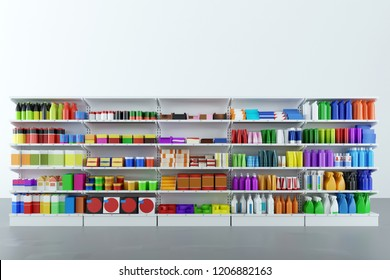Neutral generic colorful products are on the shelf of the supermarket (3D Rendering)
