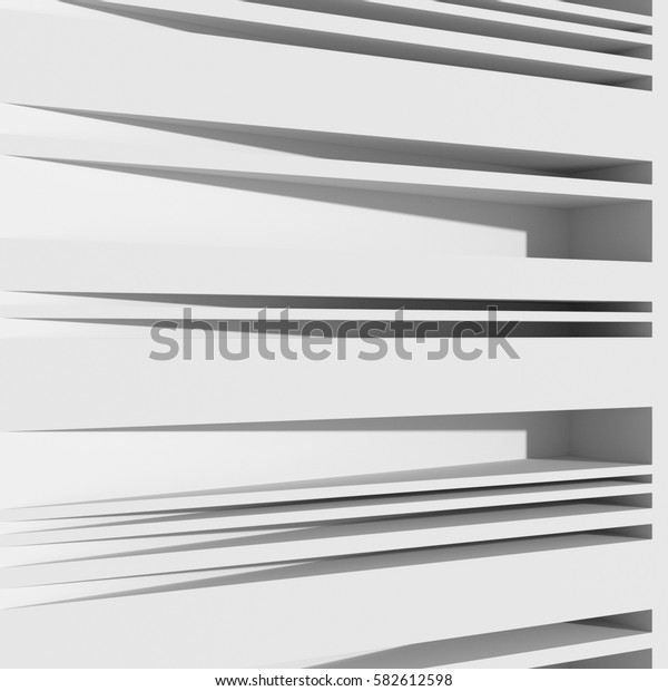 Neutral geometric background. 3D rendering of wall surface with horizontal grooves. Perspective view.