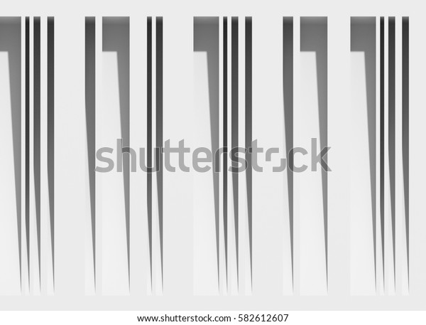 Neutral geometric background. 3D rendering of wall surface with vertical grooves. Parallel projection.