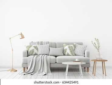Neutral livingroom interior with fabric sofa, pillows, plaid, lamp and green plant on white wall background. 3d rendering.